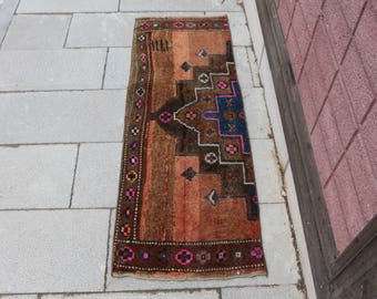 Unique art rug turkish rug Free Shipping natural color decorative rug 1.6 x 4.6 ft. bohemian rug aztec rug small area rug door mat rug MB383