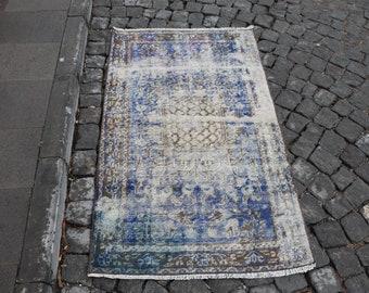 Blue color decorative rug Free Shipping small size rug 2.7 x 4.7 ft. faded color rug najova rug aztec rug nomadic rug bathroom design MB396