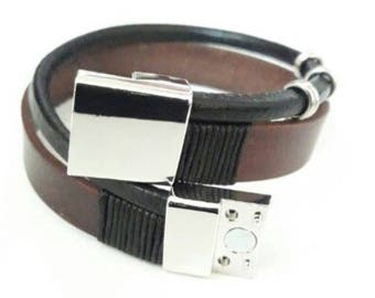 Men's bracelets, natural leather and staniless steel with magnetic buckle