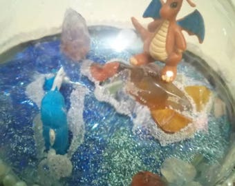 POKÉMON TERRANIUM featuring Dragonite and Gyarados. Handmade.