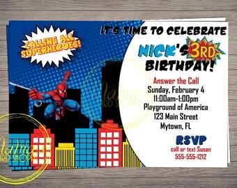 Spiderman Birthday Invitation (Printed)