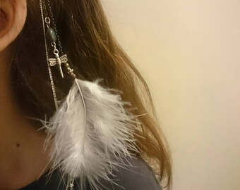 Hippie white feather hair clip