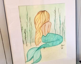 "Mermaid Watercolor Painting  ""Calm in the Shallows"" Original Painting"