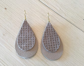 Leather stacked earrings/gray textured on gray/lightweight statement earrings