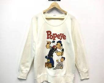 Vintage Pullover Sweatshirt King Features Syndicate POPEYE THE SAILORMAN Popeye Big Head Printed Vintage Popeye Clothing Size Large oVbxoewr