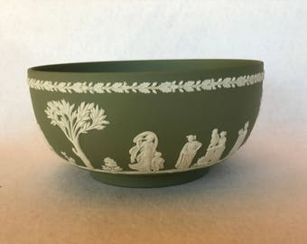 Vintage Wedgwood Sage Green Jasperware Sacrifice Bowl