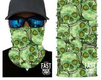 Green Skulls Face Shield - Free Shipping to Canada & USA  - 100% Microfibre | Face Mask | Biker Face Shield | Bandana | Tubular Bandana