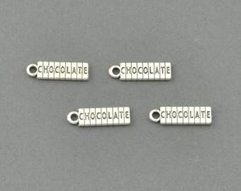 Antique Silver Tone Chocolate Bar Charm (AS00-0038)