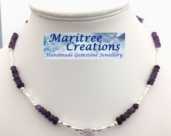 """Amethyst and sterling silver 18"""" necklace."""