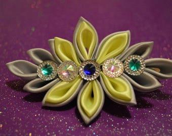 Beautiful hair clip, hair clip, hair accessories, kanzashi, neon yellow and gray hair clip