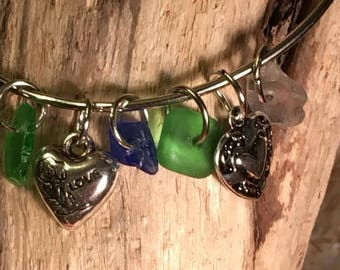 Beach glass and charm bracelet