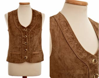 Suede leather hunting - folk WAISTCOAT by ALPHORN / Trachtenweste / womens size D 38, S small / brown / faux antler buttons