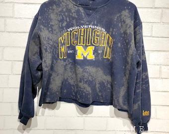 Vintage Michigan Distressed Crop Crewneck