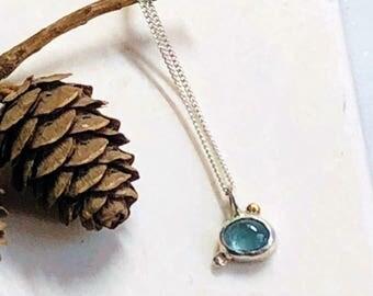 silver & 9k gold aquamarine  necklace