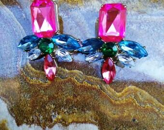 Gorgeous multicolored costume jewel studs.