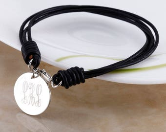 Personalized Round Charm Pu Leather Bracelet