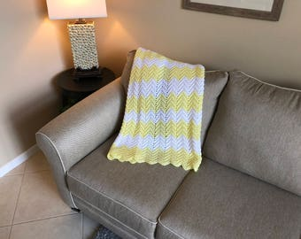 Yellow and White Ripple Pattern Baby Blanket/Afghan