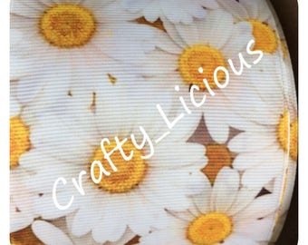 3 Inch Yellow & White Daisy Flower - 75mm Grosgrain Ribbon - Per Meter