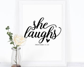 She Laughs Proverb Print, Love Printable Art, Modern Decor, Wall Art Gift Idea, Motivation Bible Quote