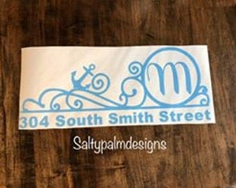 Personalized anchor Mailbox Decal, Mailbox Decal, Custom Mailbox Decal, custom mailbox decal, monogram decal
