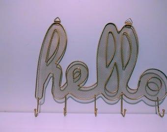 Hello metal hooks sign