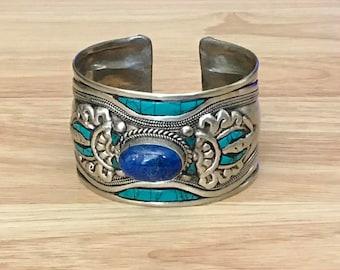 Turquoise Lapis Lazuli Cuff Bracelet