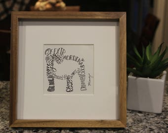 Personalized Framed English Bulldog inspirational word art drawing