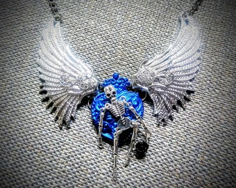 Winged skull Heart necklace