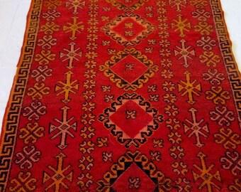 old vintage handmade . AZILAL rugs .Moroccan vintage carpet  255-140 cm