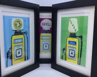 Set of 3 Framed Retro Petrol Pump Prints