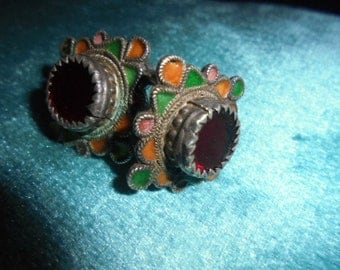 Moroccan Jewelry, Rare old Berber pair of hair rings, good enamel, Iraq glass