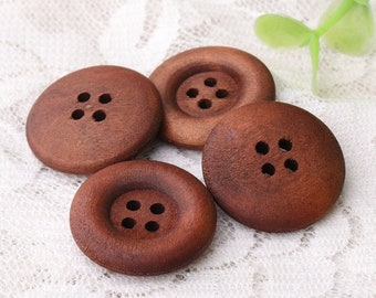 buttons wooden buttons 10pcs dark brown wood buttons 23mm in diameter 4 holes buttons for coat