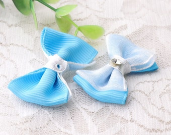 blue bow ties baby's clothes bow ties bowknot with a diamond fabric bowknot for baby, toddler, girls 4pcs