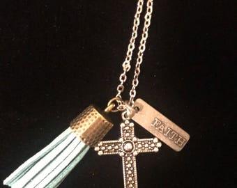 Faith, Cross, and Tassel Necklace