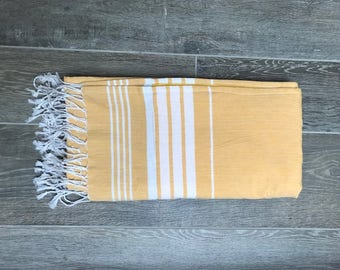 Lined Hammam/Fouta Towel in Yellow