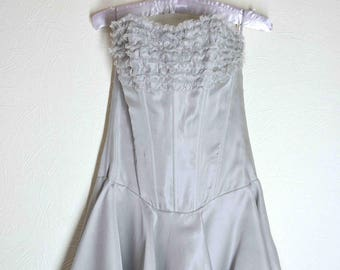 Grey mini dress for women. Grey party dress with corset and lacing.