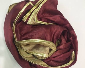 Silken red and gold hijab