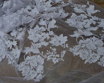 White bridal lace,Flowers Luxury Lace bridal gown,sequin embroidery,Delicate wedding White lace-1 yard