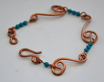 Copper spirals Blue Beads Simple Bracelet -The Sea and Me-