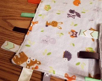 Woodland Creatures Baby Sensory Tag Blanket