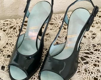 50's Vintage Dark Blue Leather Slingback Stilettos