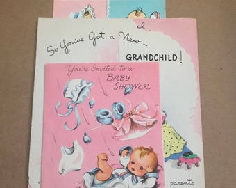 4 Vintage Baby Greeting Cards