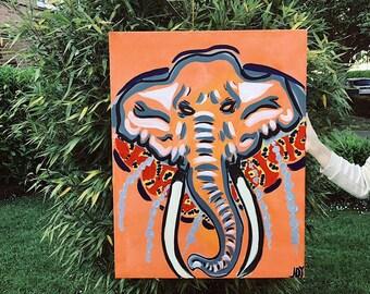 Acrylic painting, abstract Elephant JOY. 70 x 90 ORIGINAL