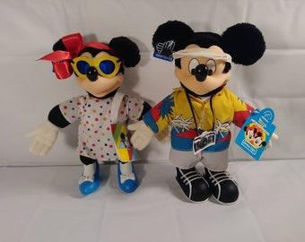 Vintage Walt Disney Mickey and Minnie Mouse Plush Set