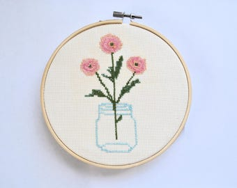 Ranunculus in Bloom Cross Stitch Pattern - PDF Download