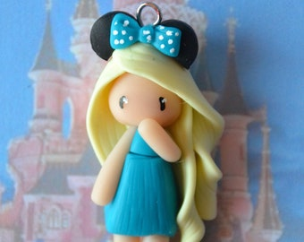 Baby Minnie blue dress, blond hair - Disney Collection - jewelry polymer clay handmade