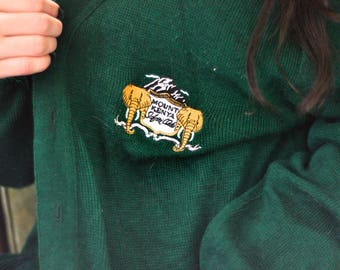 Vintage Emerald Colored Cardigan with Safari Patch and Pockets