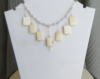 shell rectangle dangle necklace