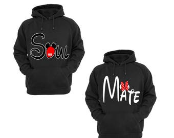 Hoodies for Women Minnie Mouse Mate Part Couple Match, Men Mickey Mouse Soul Part Couple Match Cotton Pullover Sweatshirt