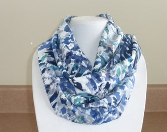 Blue/Navy/White/Gray/Teal infinity scarf